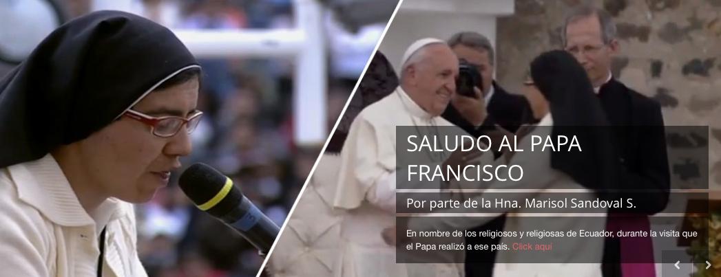 La Hna. Marisol Sandoval saluda al Papa en Ecuador