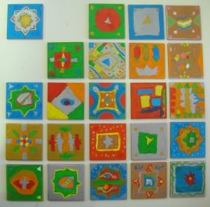 Muestra de los atauriques realizados por 6ºB inspirados en la Alhambra.